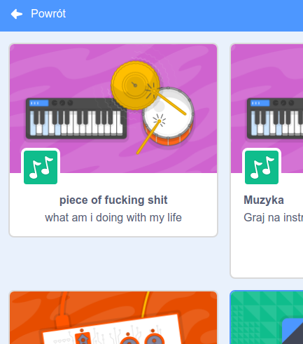 screenshot: an extension in scratch's menu, called piece of shit